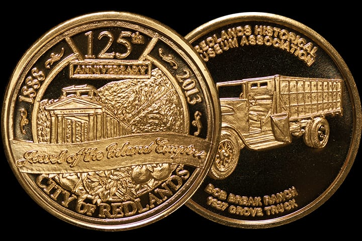 Redlands' 125th Anniversary Commemorative Medal - Golden Bronze